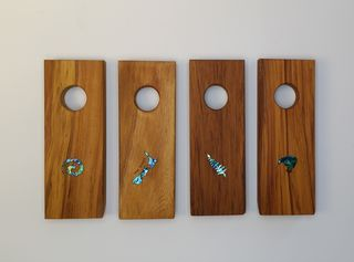 Square Wine Bottle Holder with Paua Inlay