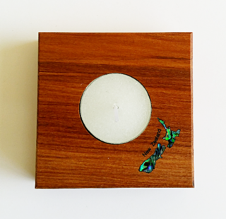 Square Candle Holder with Paua NZ