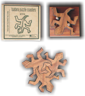Tuatara Puzzle Coasters with Stand set  of 6