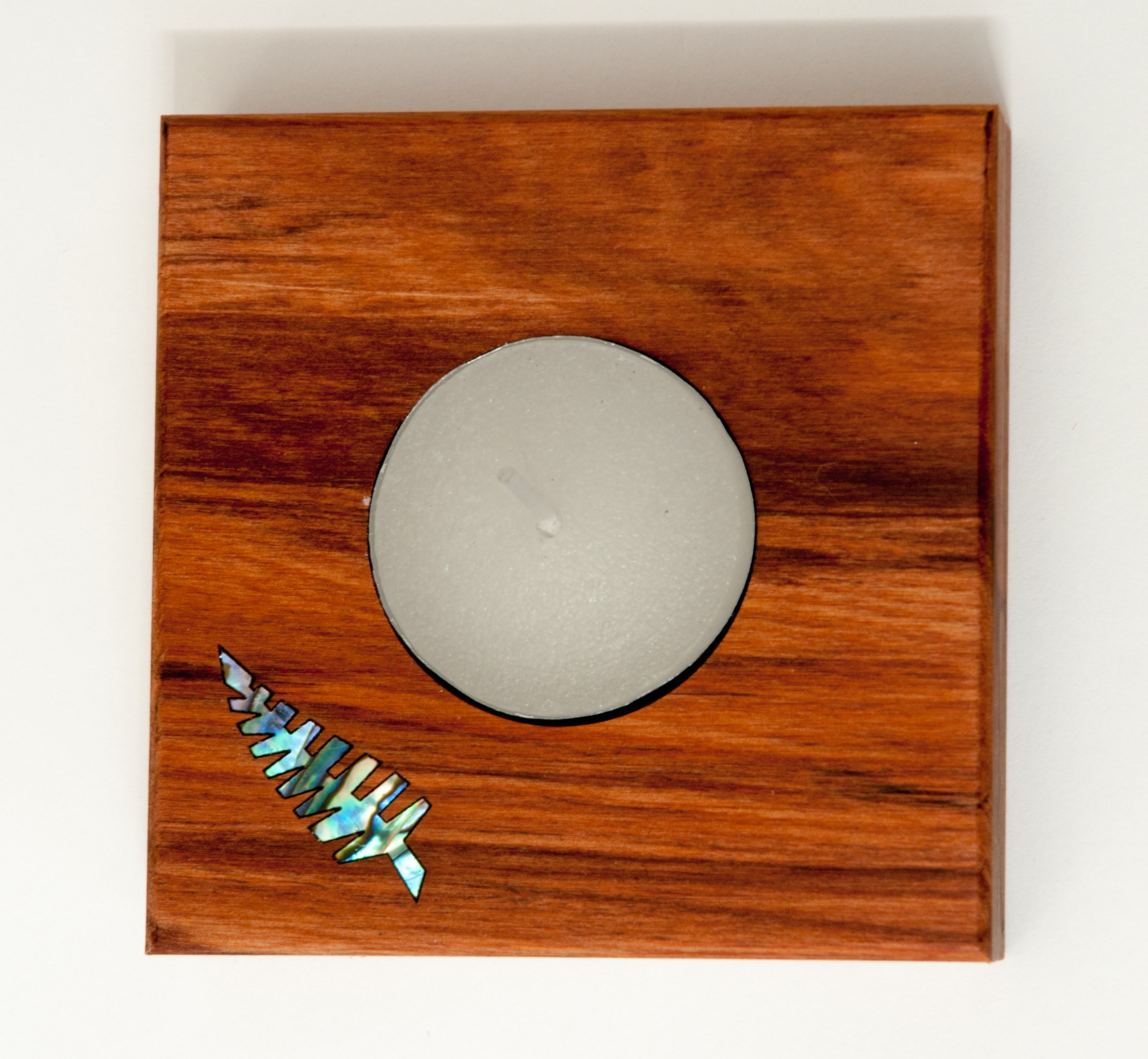 Square Candle Holder with Paua Fern