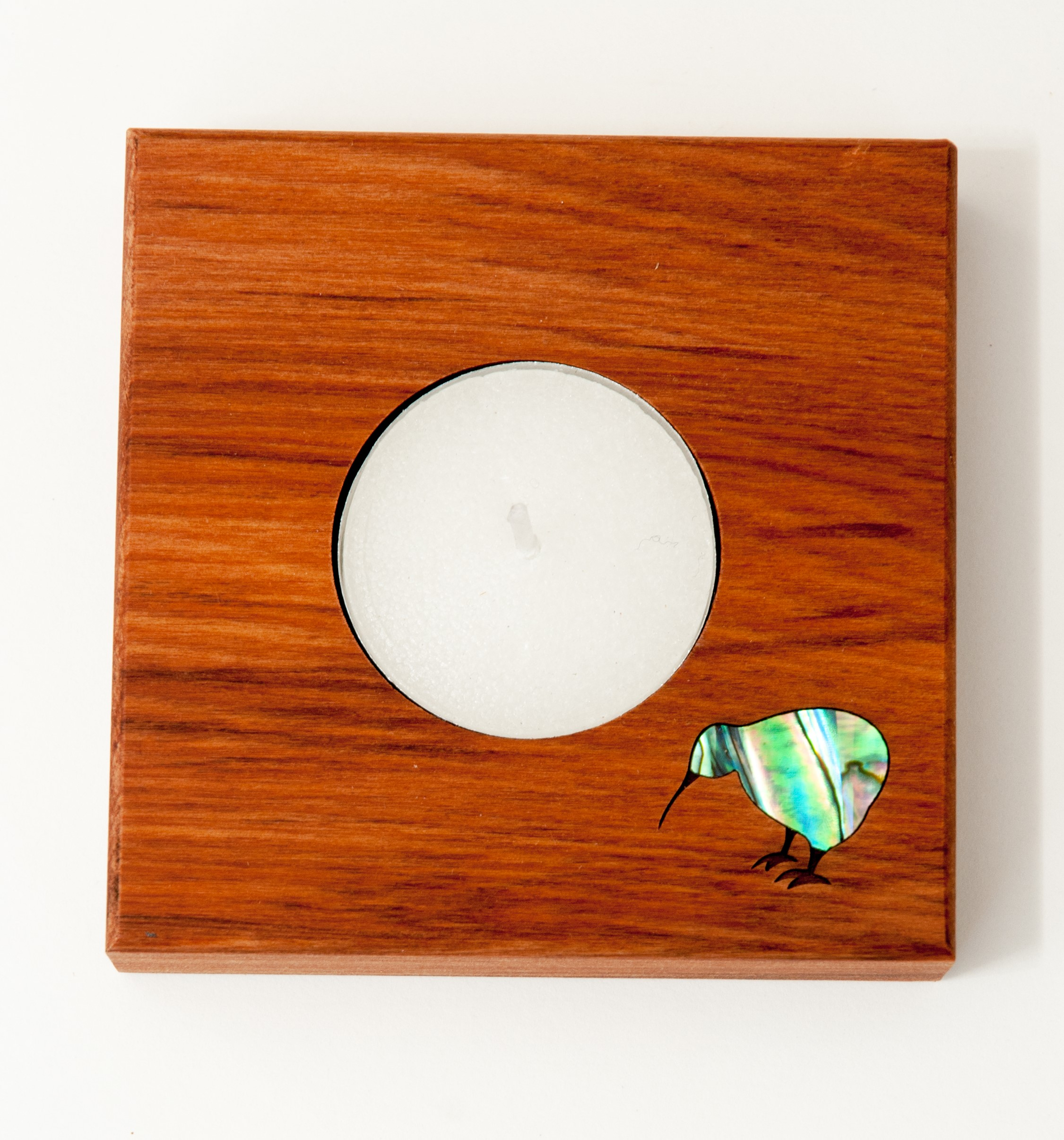 Square Candle Holder with Paua Kiwi